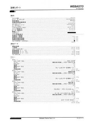 ベバストFFヒーター コンピューター診断レポート