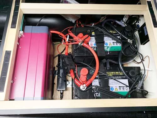 S−GLにバッテリー、インバーター、走行充電器を取り付け