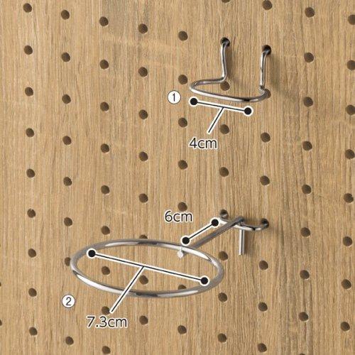 有孔パネル用リング型フック【有孔ボード フック】 選べる2タイプ 小2個 大1個【EX6-123-9】