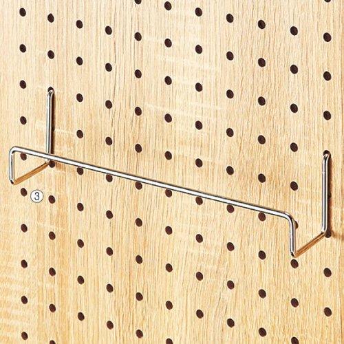 有孔パネル用ワイドフック(φ4mm) クローム 5本セット【有孔ボード用】選べる3サイズ【EX6-544-78】