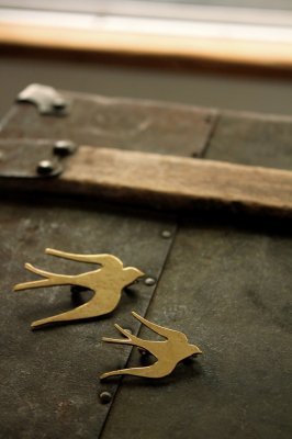 Brass Swallow Brooch #1