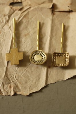 Brass Charm Hair Pin