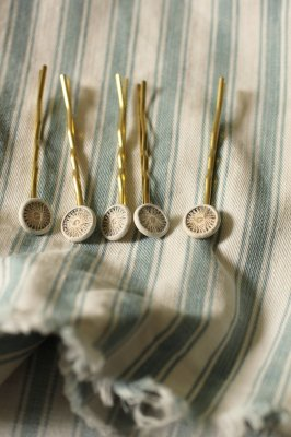 Antique Dorset Button Hair Pin