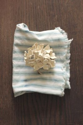 Hydrangea Leather Corsage - White