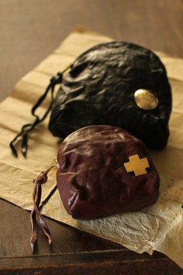 Leather Round Zip Pouch