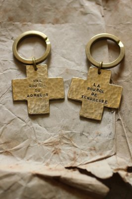 Pair Brass Cross Key Holder