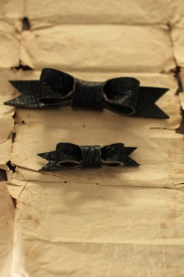 Black Leather Ribbon Brooch
