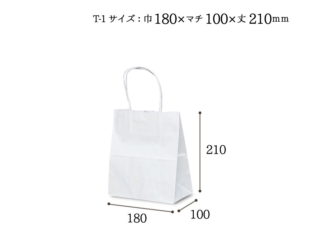 紙袋 T-1 白無地