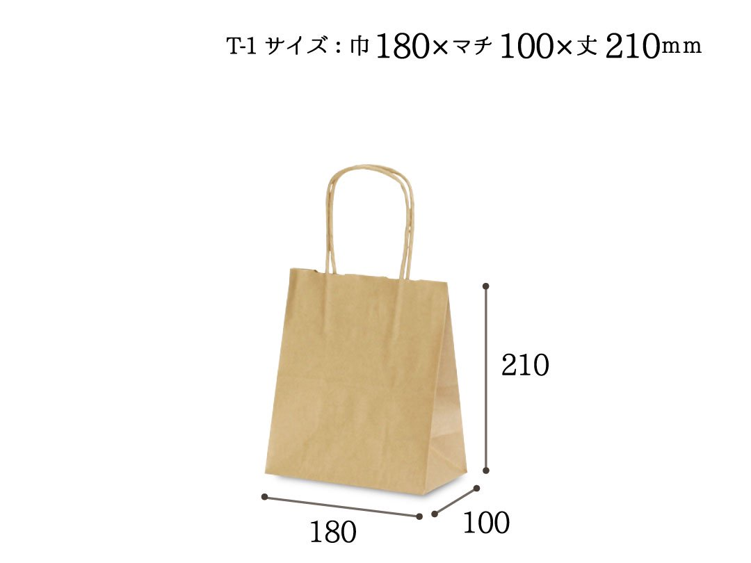 紙手提袋 T-1(茶) 5枚
