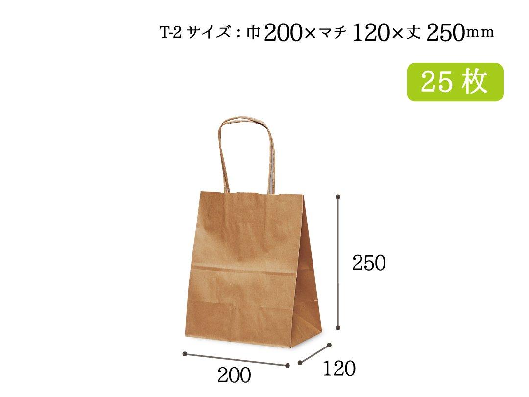紙手提袋 T-2(茶) 25枚