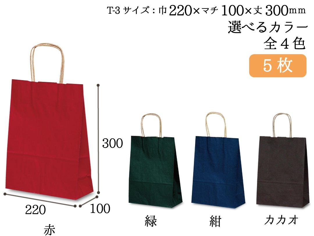 紙手提袋 T-3(カラー) 5枚