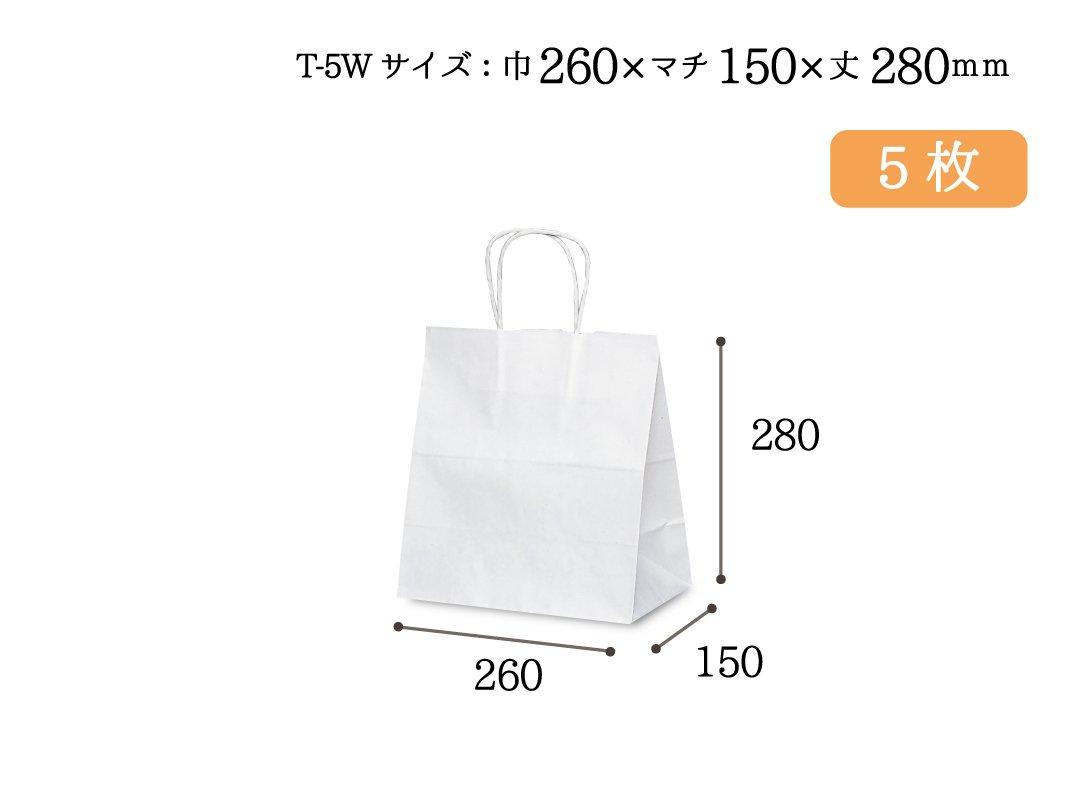 紙手提袋 T-5W(白) 5枚