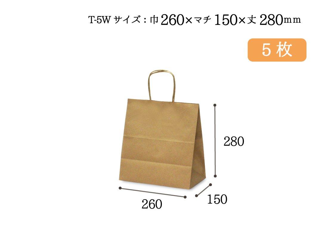 紙手提袋 T-5W(茶) 5枚