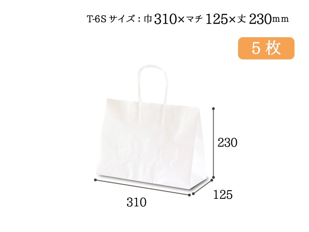 紙手提袋 T-6S(白) 5枚