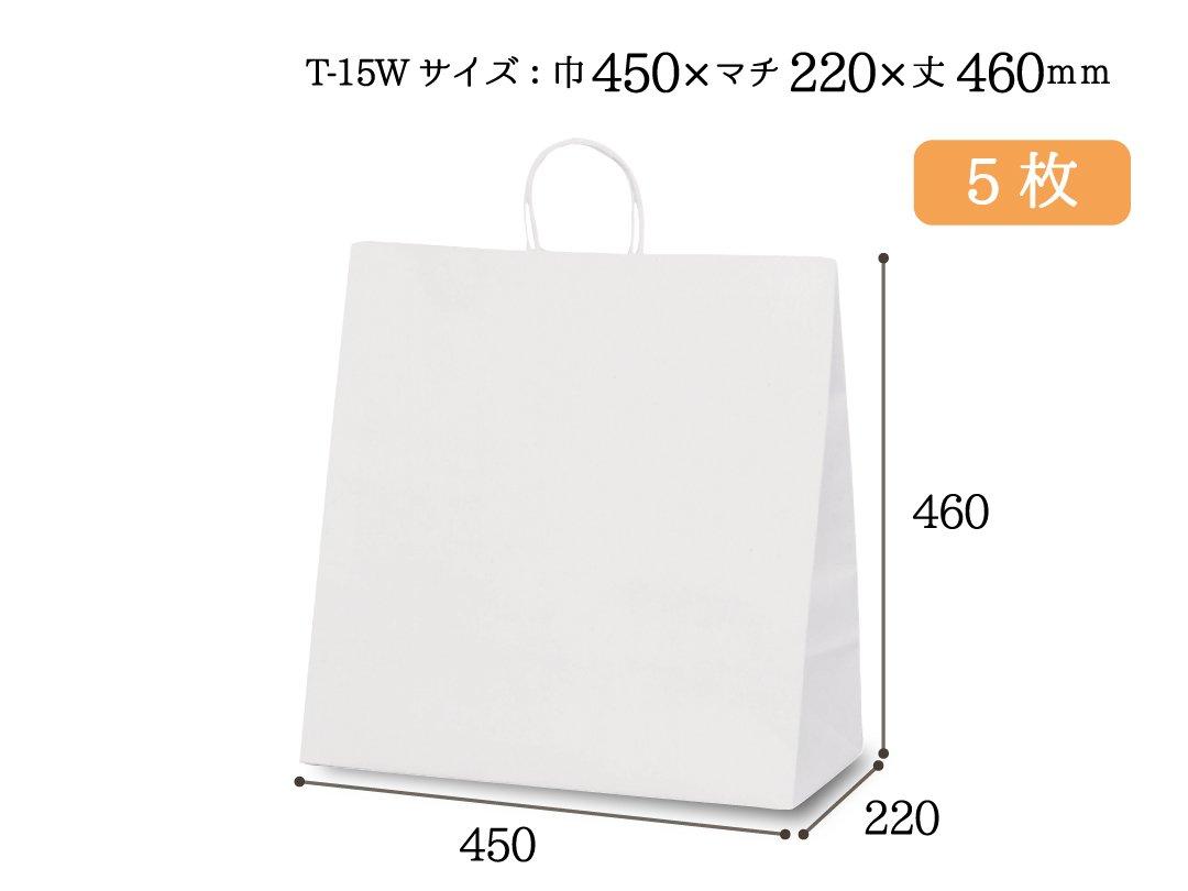紙手提袋 T-15W(白) 5枚