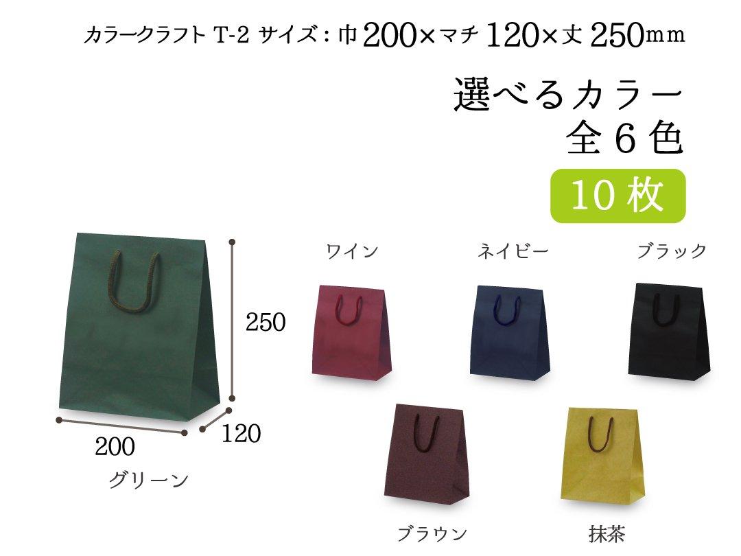 紙手提袋 T-2 カラークラフト 10枚