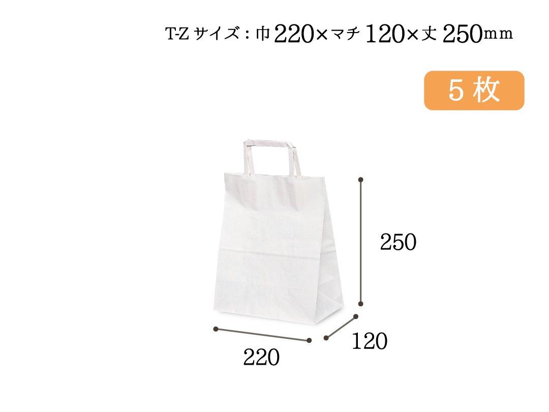 紙手提袋(平紐) T-Z(白) 5枚