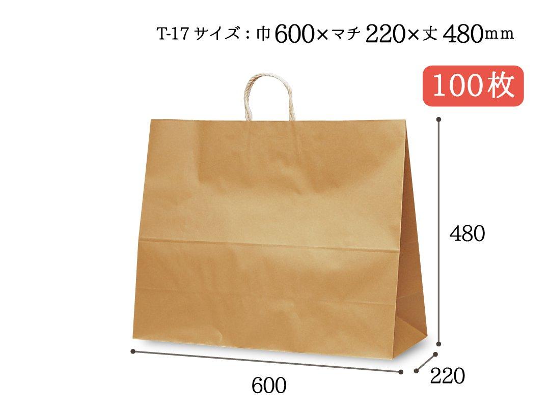 紙手提袋 PP紐 T-17(茶) 100枚