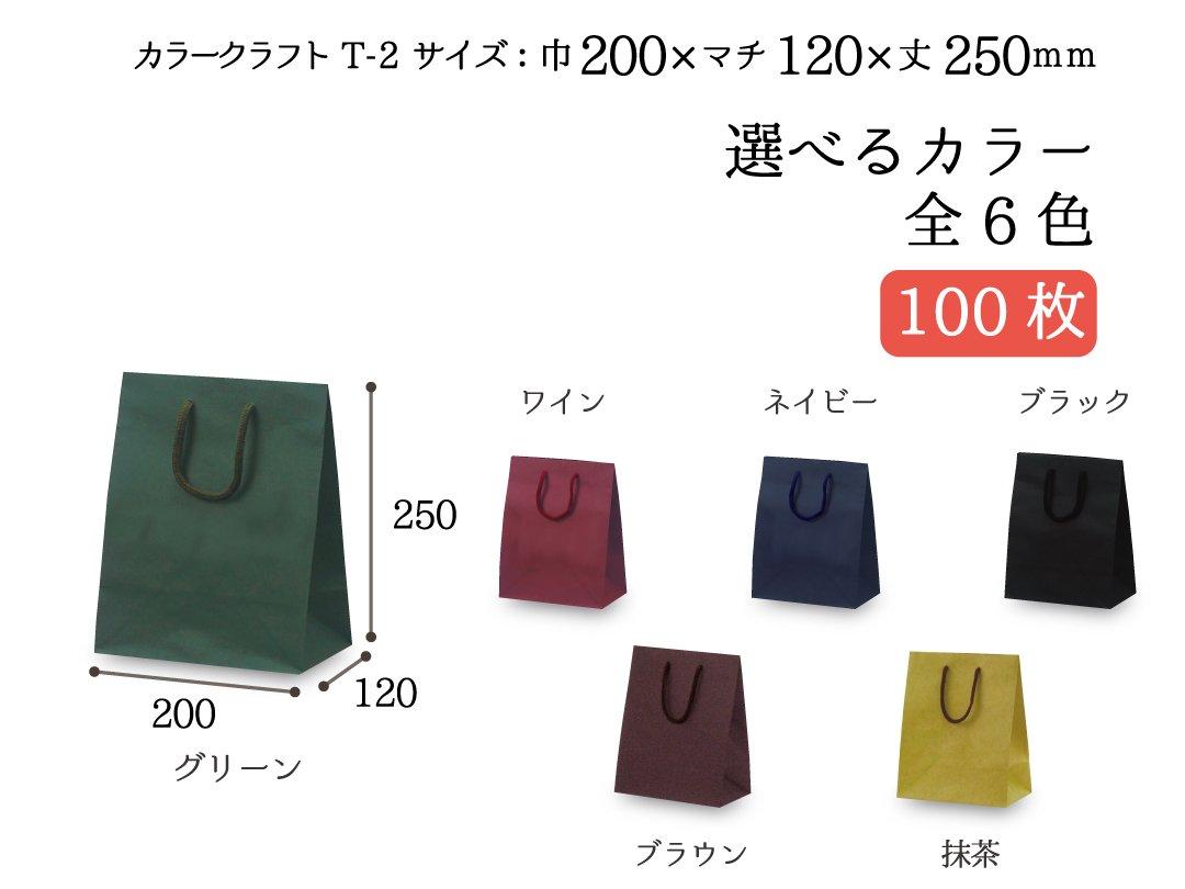 紙袋 T-2 カラークラフト 100枚