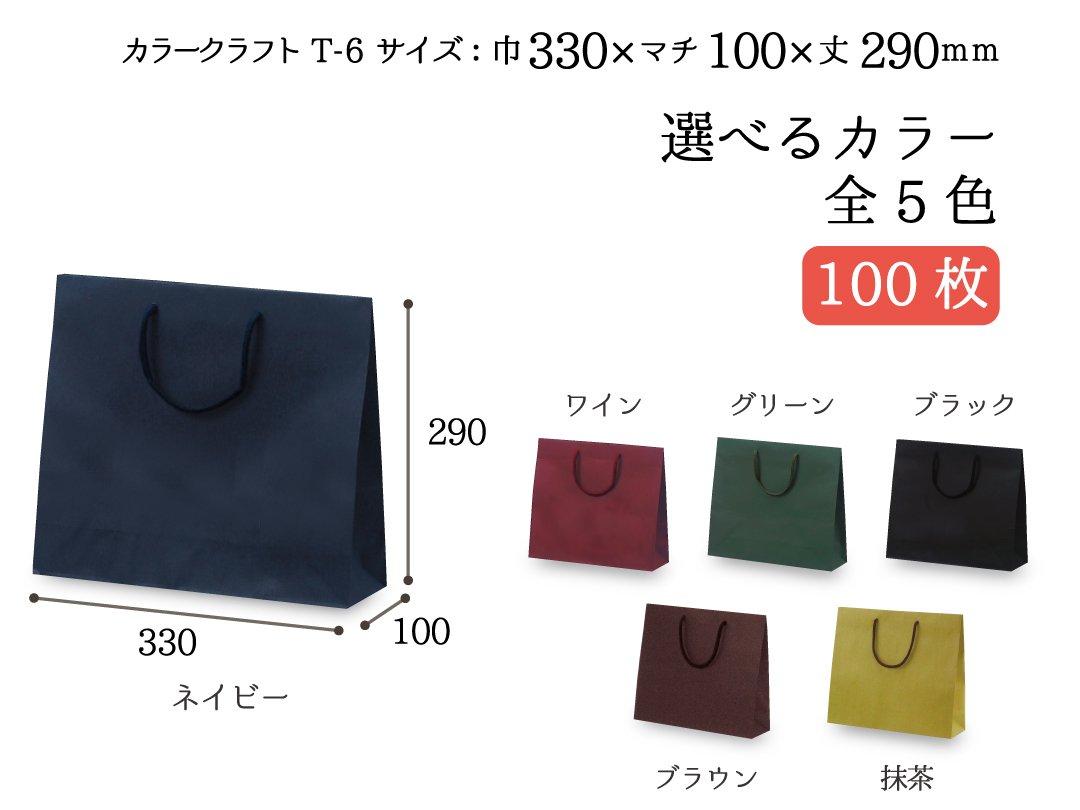 紙袋 T-6 カラークラフト 100枚