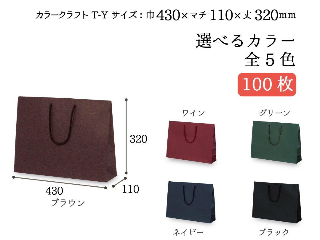 紙手提袋 T-Y カラークラフト 100枚