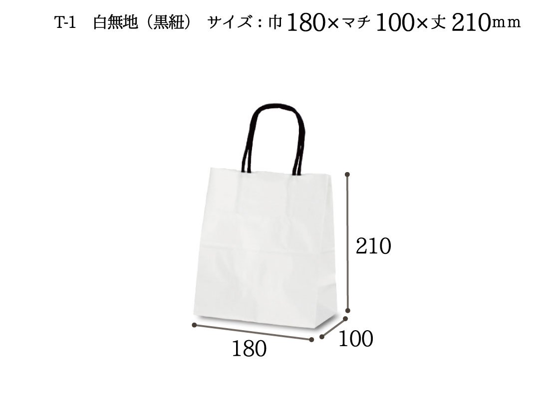 紙袋 T-1 白無地(黒紐)