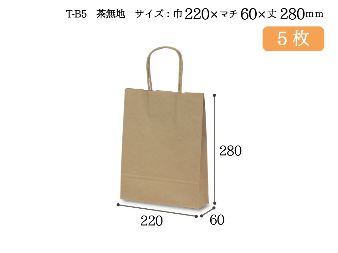 紙手提袋 T-B5(茶) 5枚