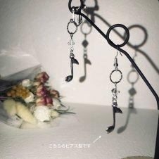 音楽モチーフ・ピアス片耳販売(8分音符)