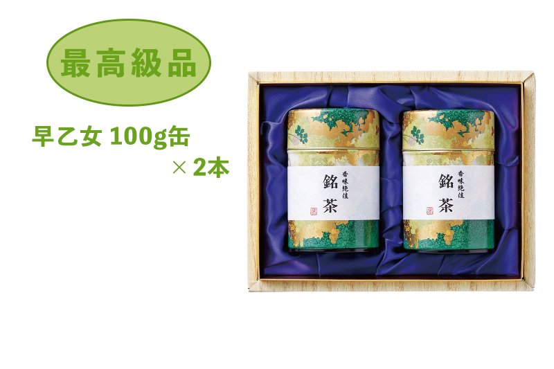 贈答用お茶(静岡茶・牧之原茶)最高級品 早乙女 100g缶×2本