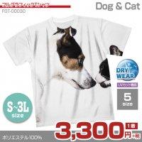 犬と猫【フルグラフィックTシャツ】 カジュアル フルカラー ドライ素材 格安