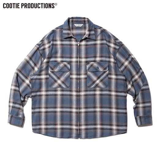 COOTIE Ombre Nel Check Zip Up Shirt <img class='new_mark_img2' src='https://img.shop-pro.jp/img/new/icons50.gif' style='border:none;display:inline;margin:0px;padding:0px;width:auto;' />