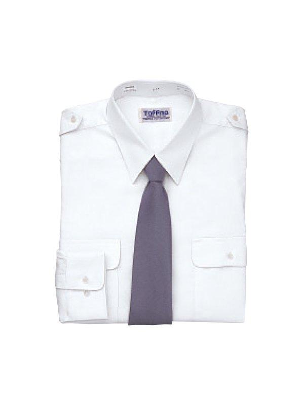 肩章付長袖カッターシャツ(タフナシャツ)ホワイト