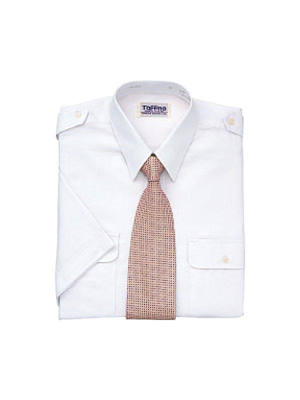 肩章付半袖カッターシャツ(タフナシャツ)ホワイト
