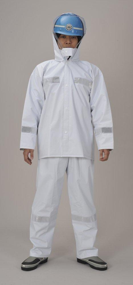 糸入りリフレクト反射テープ付レインウェア(雨衣)ホワイト