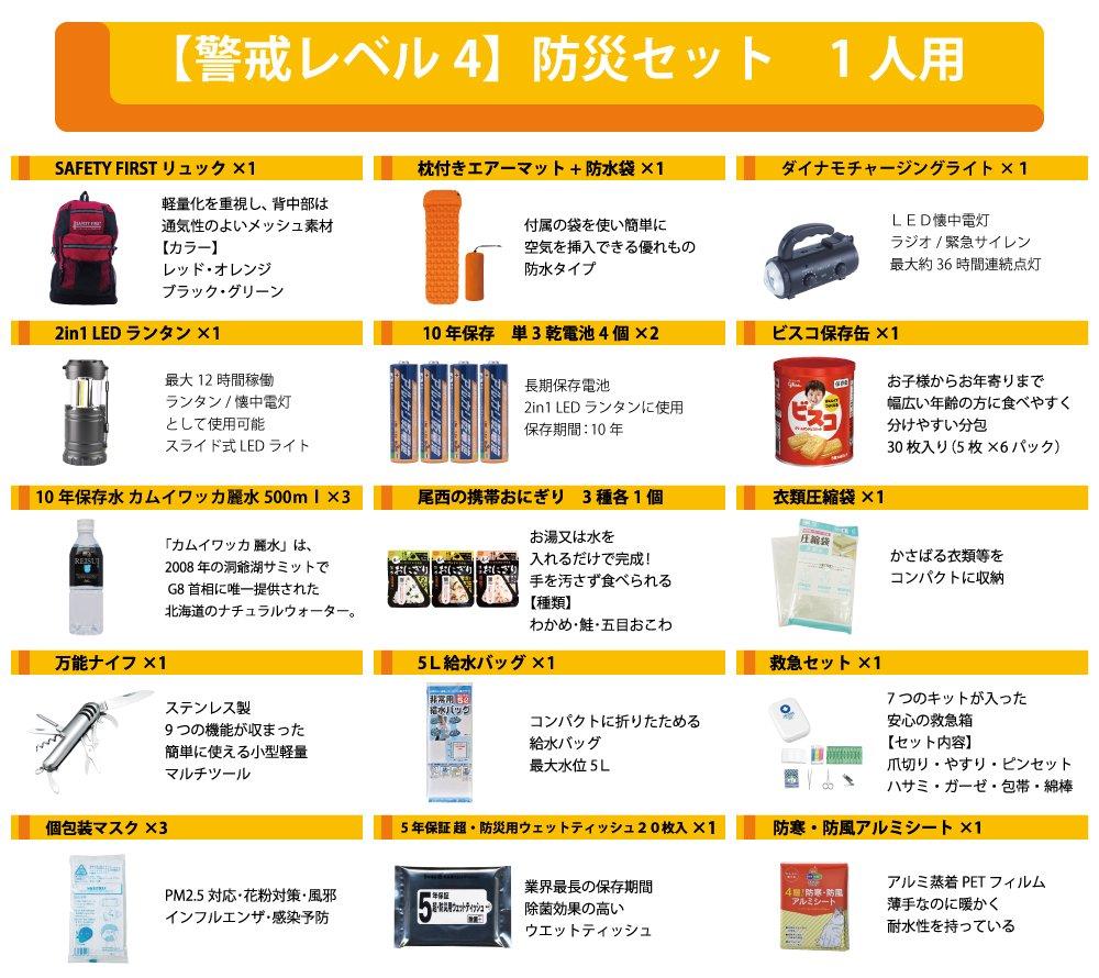 【3日間安心】SAFETY FIRST 最新版 防災セット 一人用 命を守る 46点【画像3】