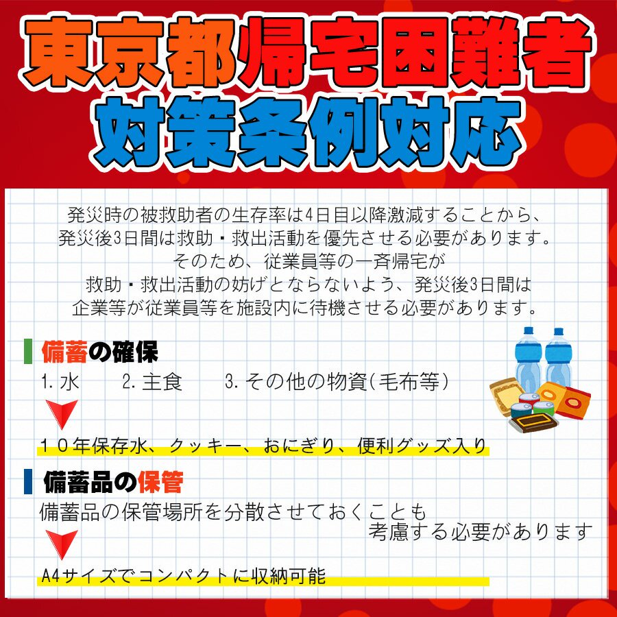 A4サイズ 災害備蓄用 29点 防災セット 東京都帰宅困難者対策条例 帰宅難民対応【画像3】