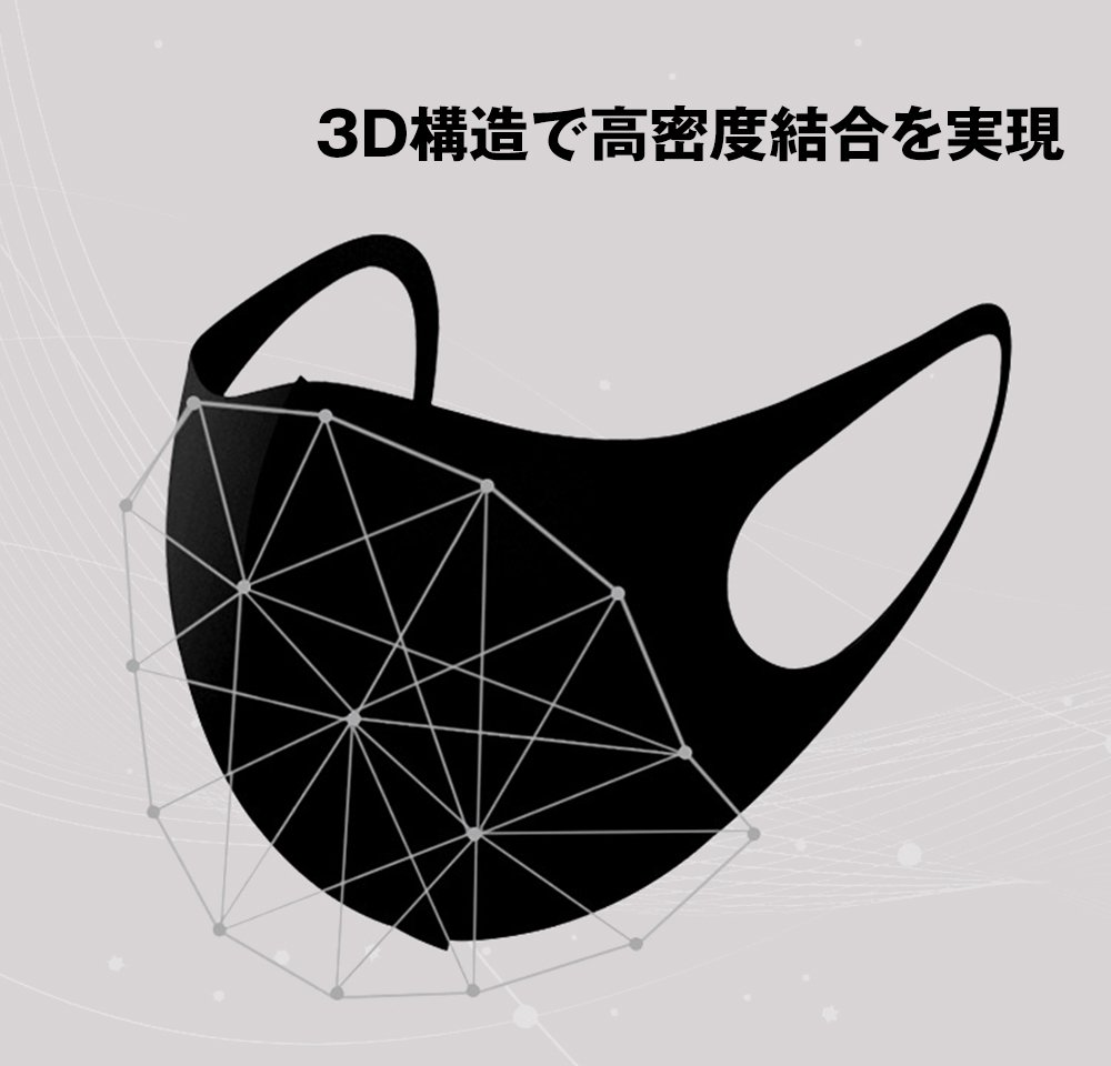 洗える マスク 5枚セット 国内発送 個包装 マスク 男女兼用 ウレタンマスク ブラック【画像5】