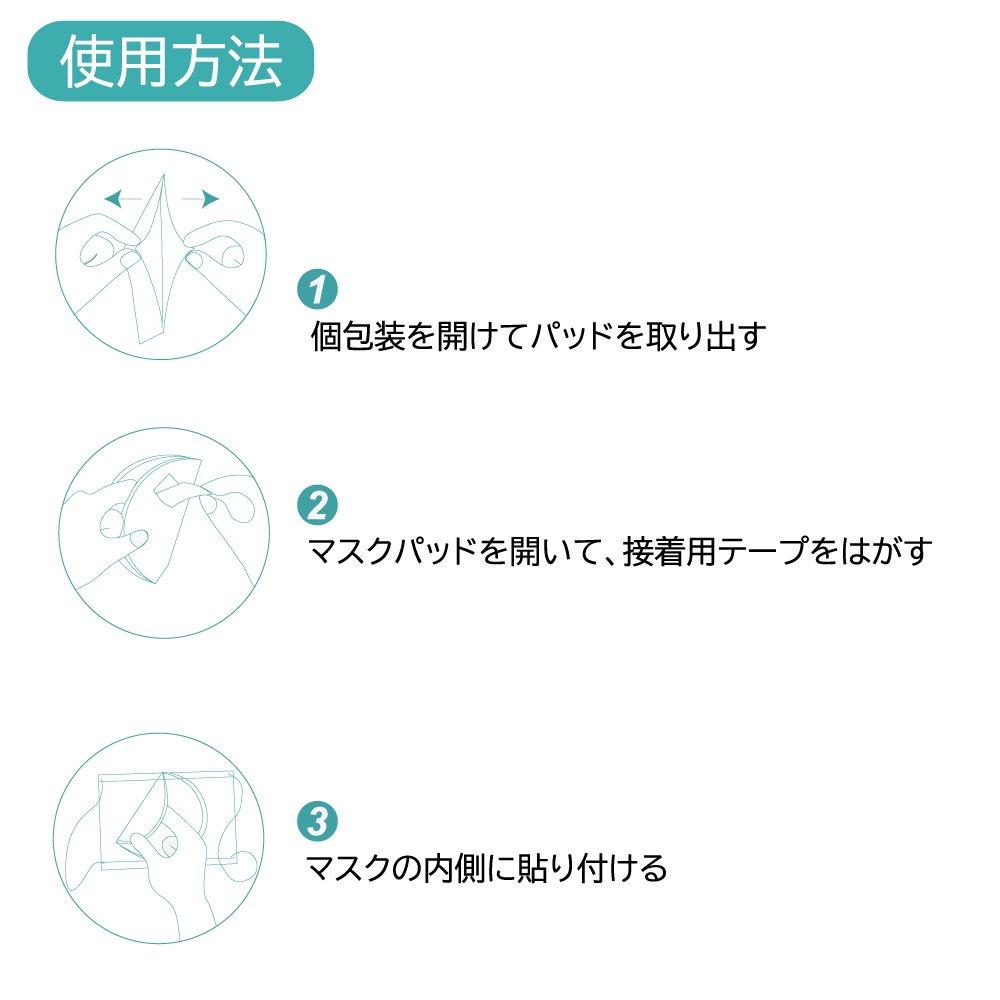 3層構造 マスク取り換えシート 40枚入/箱 個装タイプ テープ付き (日本語パッケージ) 【画像8】