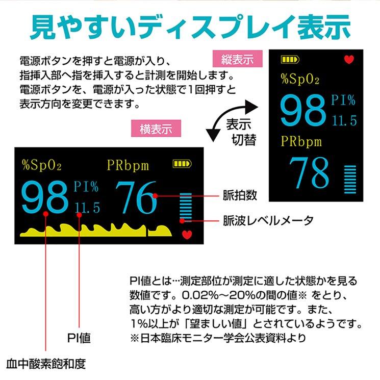 血中酸素濃度計 測定器【日本語説明書付き 保証書付】【画像7】