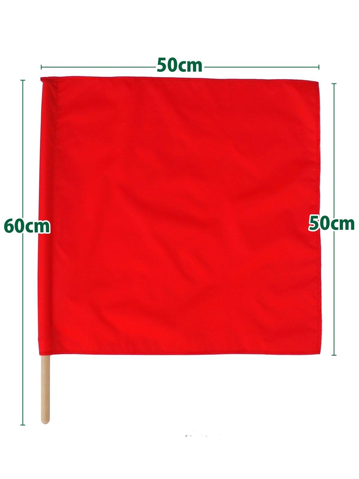 紅白手旗(旗棒付)大 50×50cm【画像2】