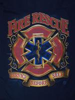 red Fire Rescue Service Before Selfe 消防Tシャツ