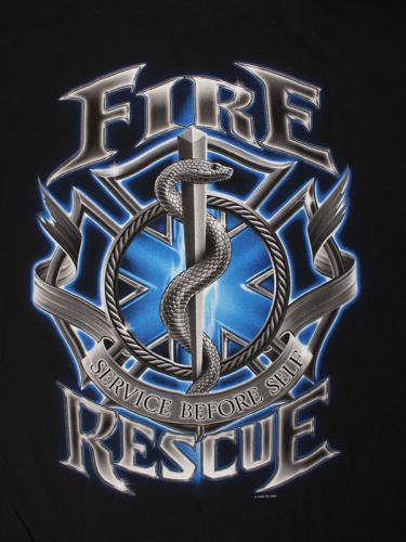 blue Fire Rescue Service Before Self 消防Tシャツ【画像1】