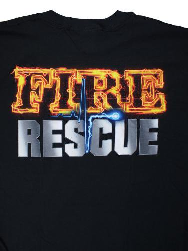 Black Fire Rescue Firefighter 消防Tシャツ
