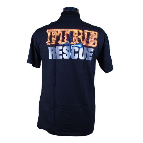 Black Fire Rescue Firefighter 消防Tシャツ【画像3】