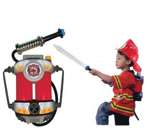ファイヤーパワー(水鉄砲)、子供用防火服 (赤)、子供用ヘルメット(赤)セット