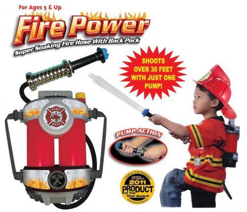 ファイヤーパワー(水鉄砲)、子供用防火服 (赤)、子供用ヘルメット(赤)セット【画像2】