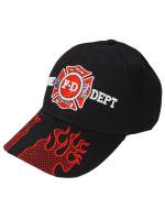 Fire Dept Flame Brim Cap 黒