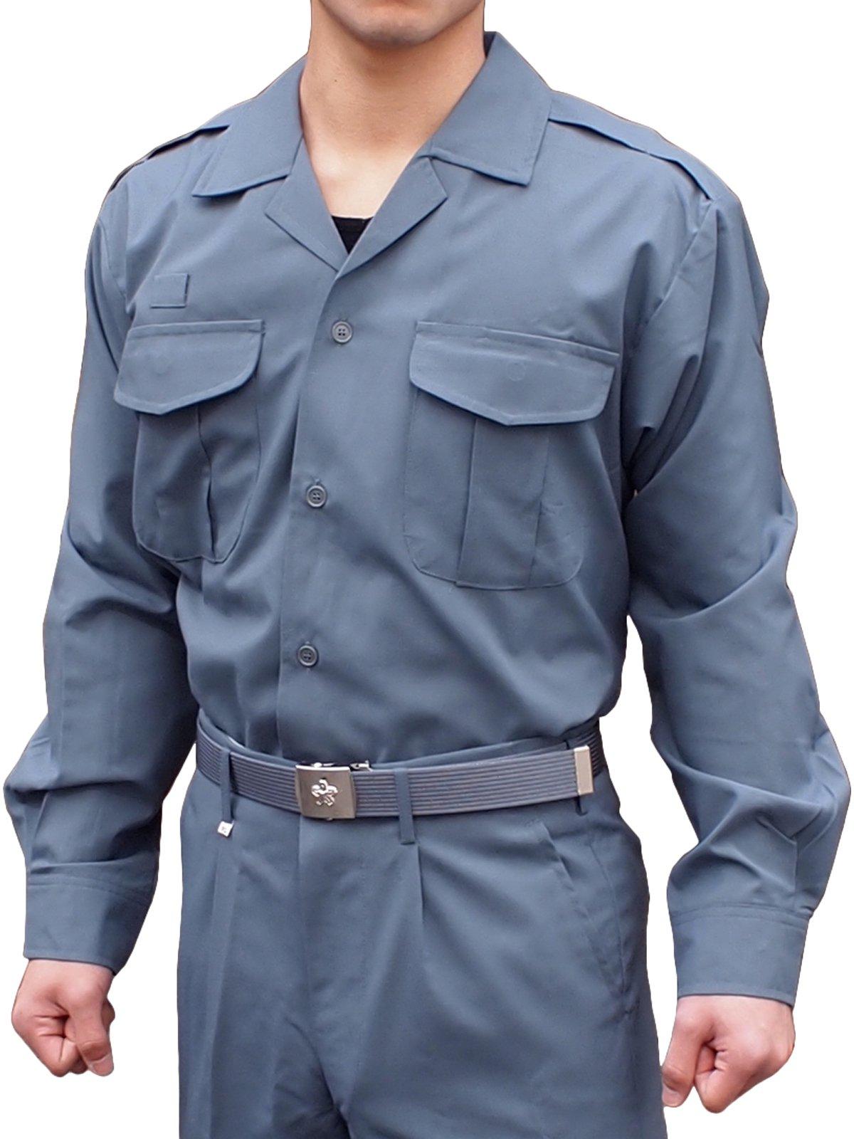 消防盛夏服(グレー)開衿長袖上衣