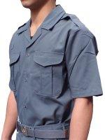プリント可能商品【Tシャツ以外のウェア】 消防盛夏服(グレー)開衿半袖上衣