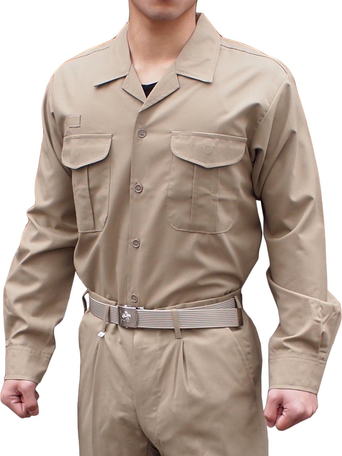 消防盛夏服(カーキ)開衿長袖上衣